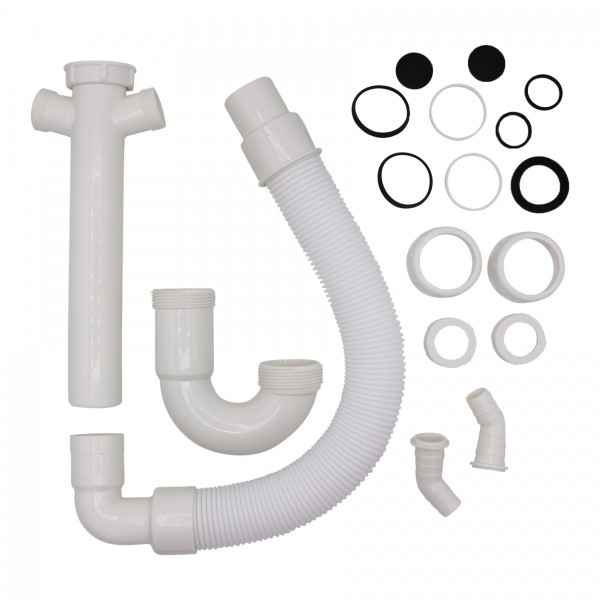 """VARIOSAN Flexibler Röhrensiphon 11497, 1 1/2"""", 2 Siphon-Geräteanschlüsse 1"""", für Küchenspüle, Spülmaschine und Waschmaschine"""