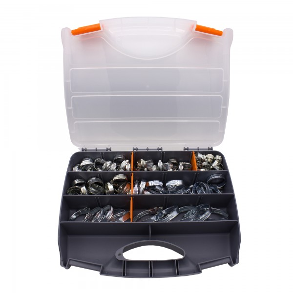 VARIOSAN Schlauchschellen Set / Sortiment 13590, 100 Stück, Spannbereich 8 - 50 mm, Bandbreite 9 mm, W4 (V2A)