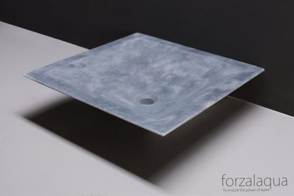 Forzalaqua Aufsatzwaschbecken Milano aus Naturstein (Marmor), 45 x 45 x 12 cm, quadratisch