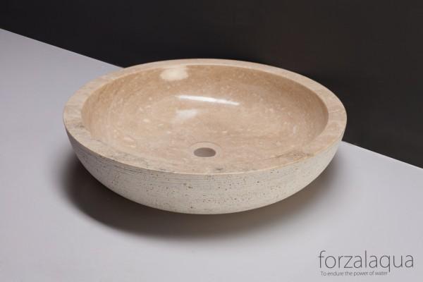 Forzalaqua Aufsatzwaschbecken Verona XL aus Naturstein (Travertin), Ø50 x 12 cm, rund