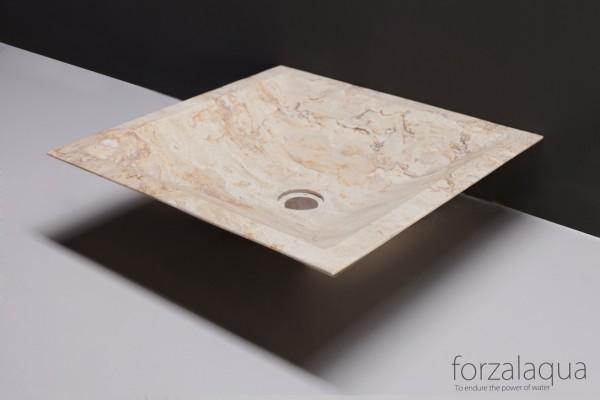 Forzalaqua Aufsatzwaschbecken Milano aus Naturstein (Travertin), 45 x 45 x 12 cm, quadratisch