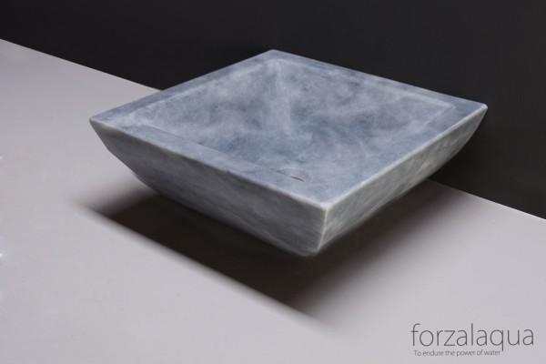 Forzalaqua Aufsatzwaschbecken Siracusa aus Naturstein (Marmor), 40 x 40 x 15 cm, quadratisch