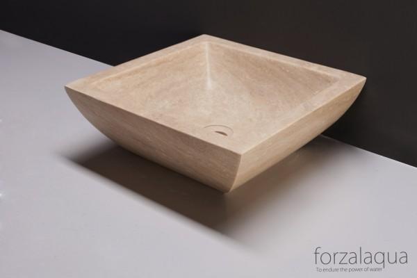 Forzalaqua Aufsatzwaschbecken Siracusa aus Naturstein (Travertin), 40 x 40 x 15 cm, quadratisch