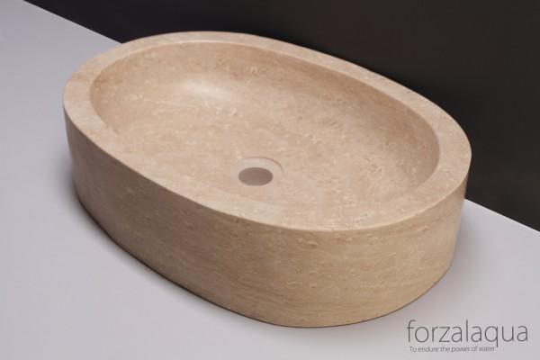 Forzalaqua Aufsatzwaschbecken Firenze aus Naturstein (Travertin), 50 x 35 x 12 cm, oval