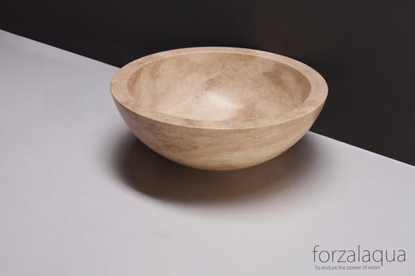Forzalaqua Aufsatzwaschbecken Roma aus Naturstein (Travertin), Ø40 x 15 cm, rund