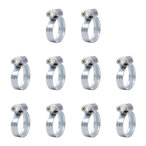 VARIOSAN Schlauchschellen Set 10322, 10 Stück, Spannbereich 12 - 22 mm, Bandbreite 9 mm, W1
