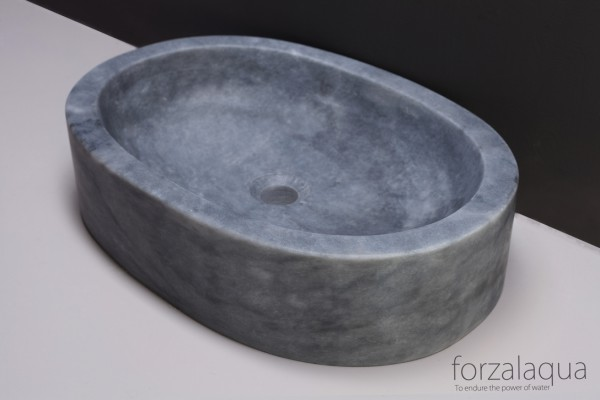 Forzalaqua Aufsatzwaschbecken Firenze aus Naturstein (Marmor), 50 x 35 x 12 cm, oval