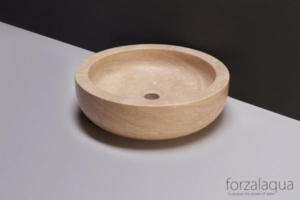 Forzalaqua Aufsatzwaschbecken Verona aus Naturstein (Travertin), Ø40 x 12 cm, rund