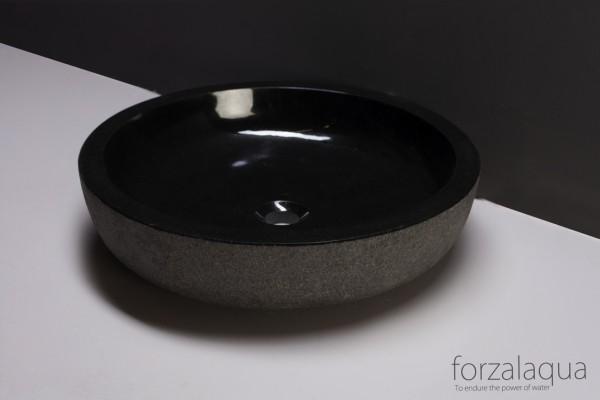 Forzalaqua Aufsatzwaschbecken Verona XL aus Naturstein (Granit), Ø50 x 12 cm, rund
