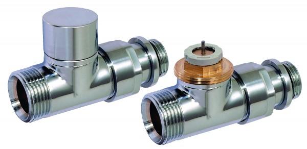 Corpotherma Design-Thermostatventil-Set, Durchgang, chrom