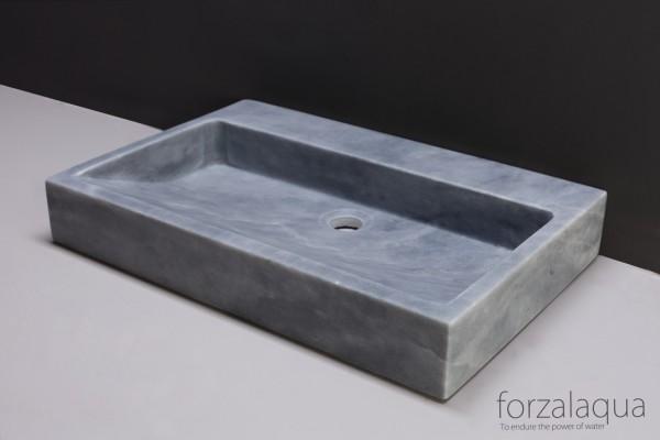 Forzalaqua Waschtisch Palermo aus Naturstein (Marmor), 80,5 x 51,5 x 9 cm, rechteckig, 2XØ36MM
