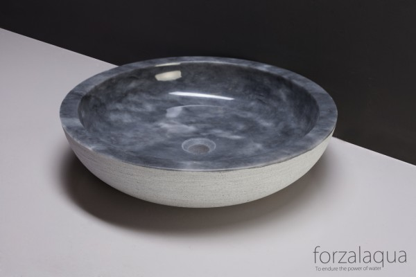 Forzalaqua Aufsatzwaschbecken Verona XL aus Naturstein (Marmor), Ø50 x 12 cm, rund