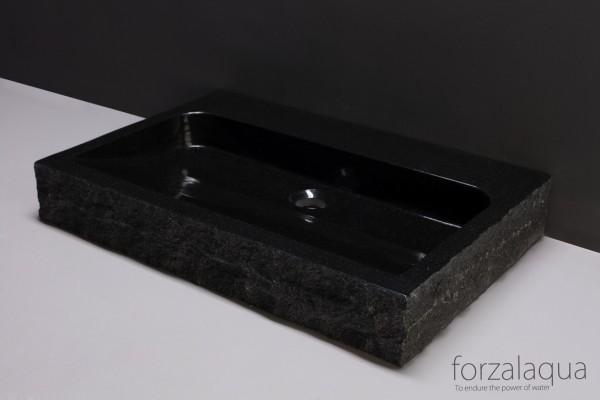 Forzalaqua Waschtisch Palermo aus Naturstein (Granit), 80,5 x 51,5 x 9 cm, rechteckig, 1XØ36MM