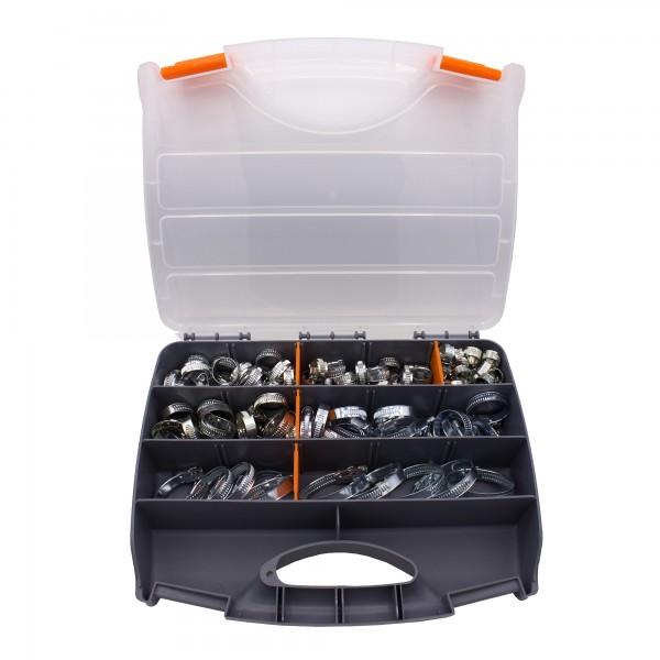 VARIOSAN Schlauchschellen Set / Sortiment 12524, 100 Stück, Spannbereich 8 - 50 mm, Bandbreite 9 mm, W1